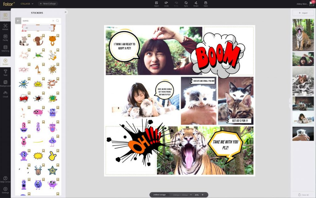 add comic sticker to collage