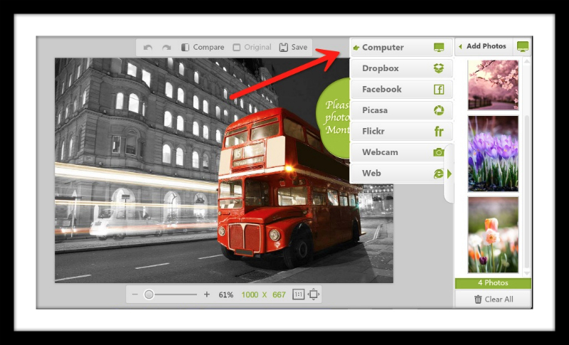 Upload photos for your montage to create a spring Facebook Timeline Photo