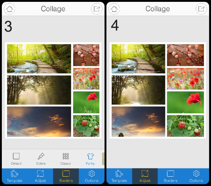 iOS Collage border styles