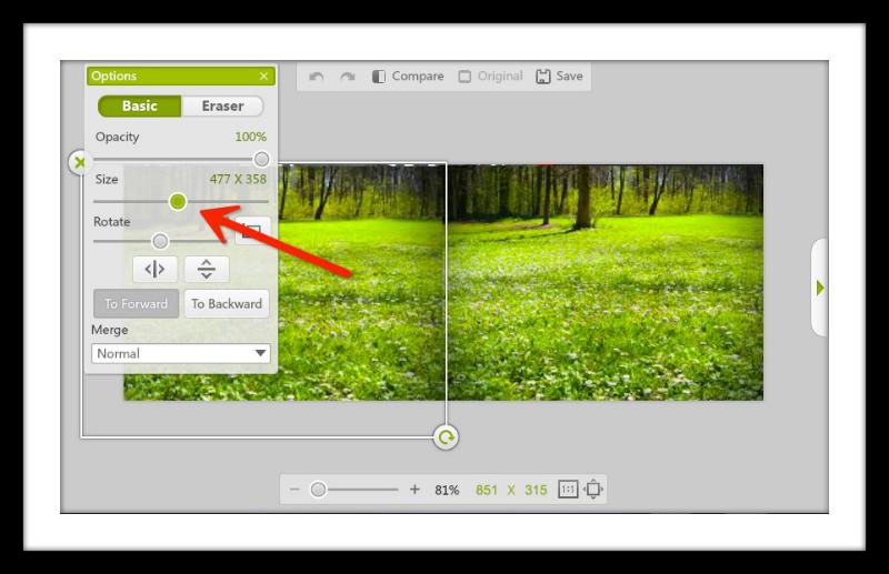 Size slide adjuster for making spring Facebook Cover Photo
