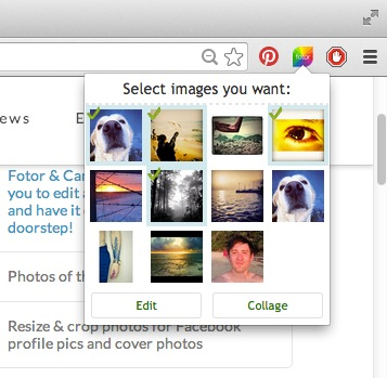 Click Fotor icon to pull multiple photos from websites directly to Fotor