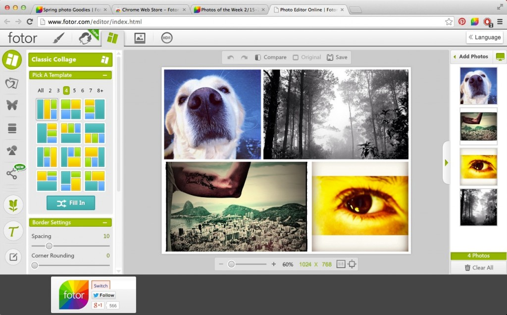 Using Fotor Chrome Extension with Collage