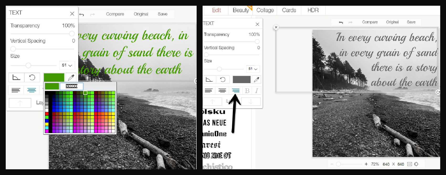 Color and layout with photo text function