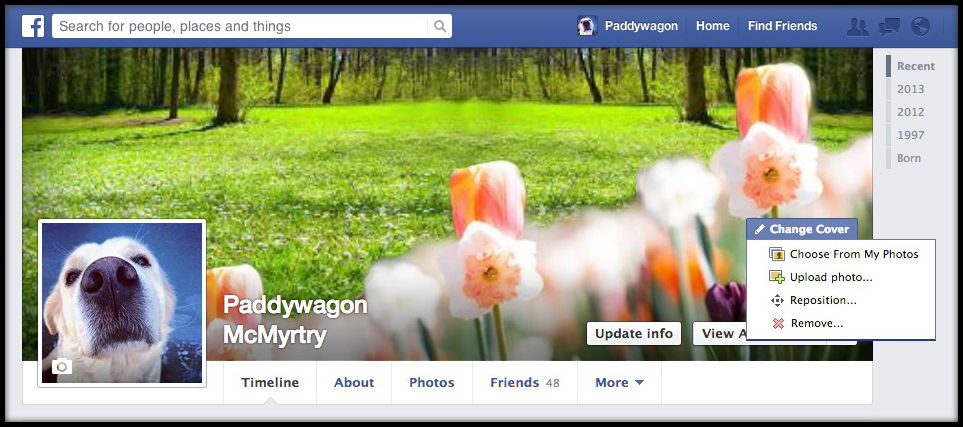 Change your Cover Photo in Facebook