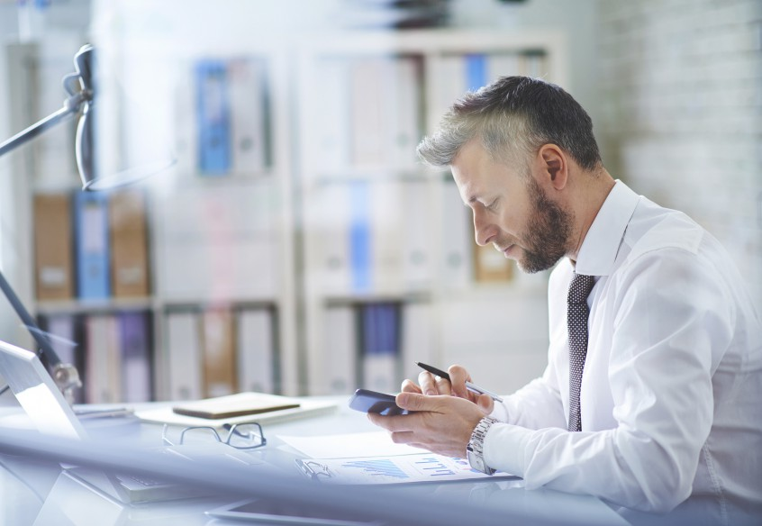 Using smartphone at workplace