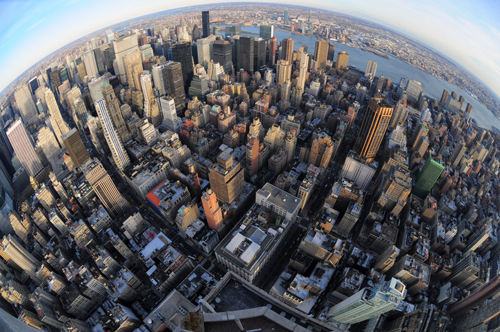 New York City Aerial fisheye view