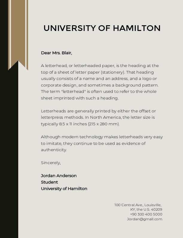 University of Hamilton Letterhead