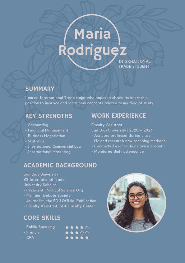 international trade student resume