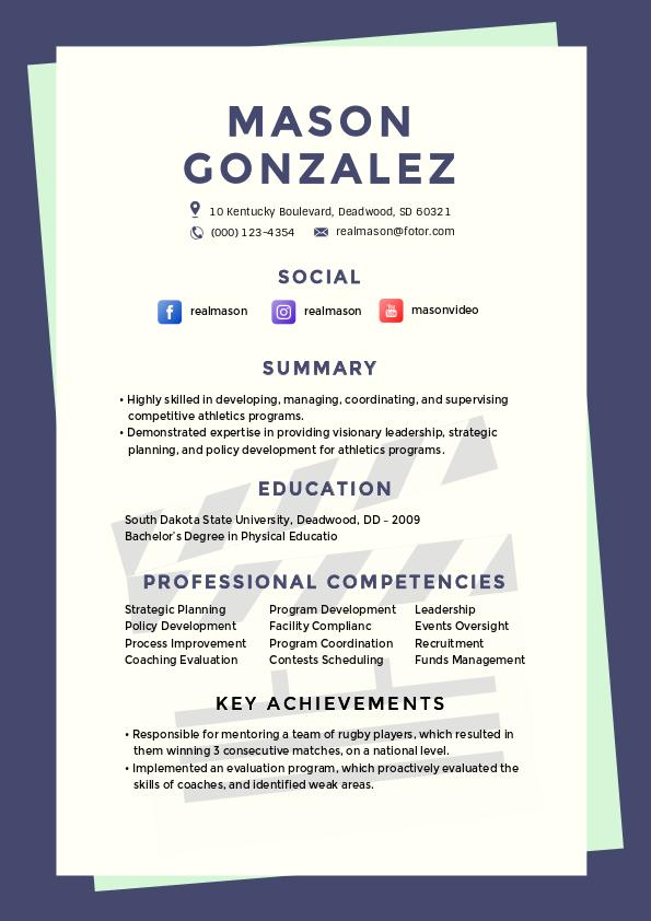 athlete resume