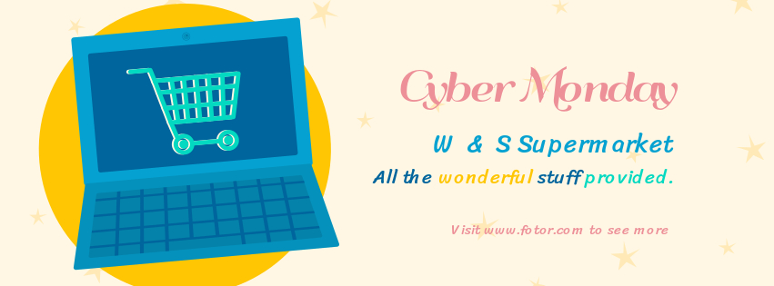 cyber Monday supermarket facebook cover design