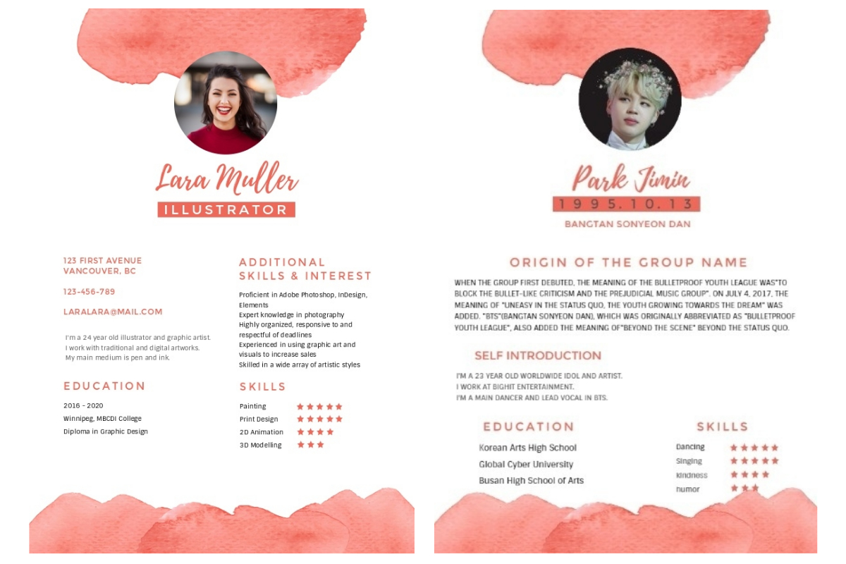 pink watercolor resume