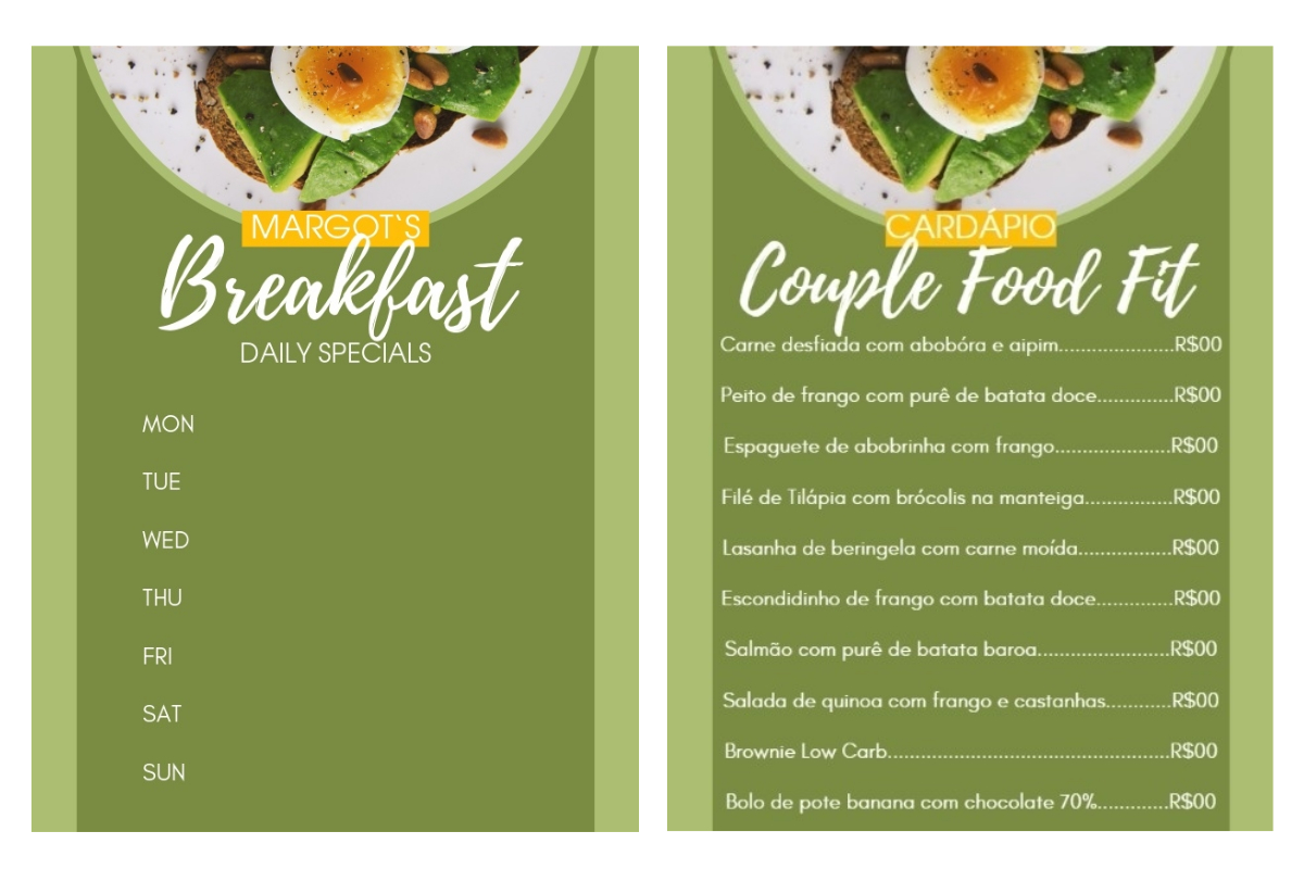green breakfast menu