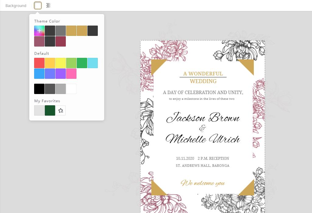 change the wedding invitation colors
