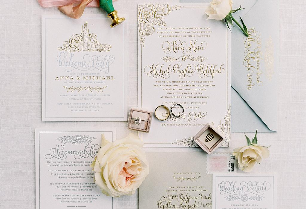 classic golden handwritting wedding invitation