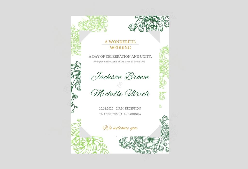 green floral wedding invitation