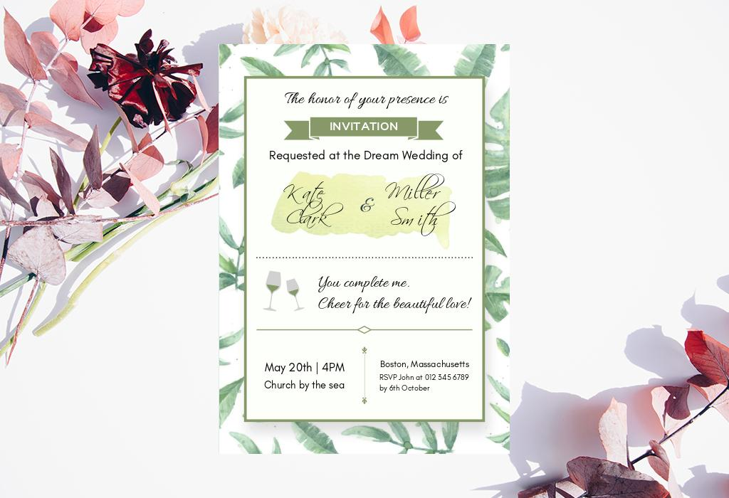 green rustic wedding invitation
