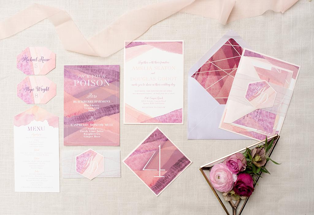 modern pink gradient wedding invitation