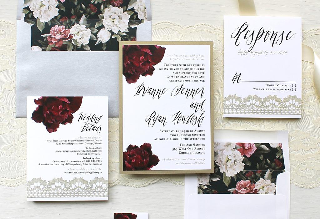modern script wedding invitation