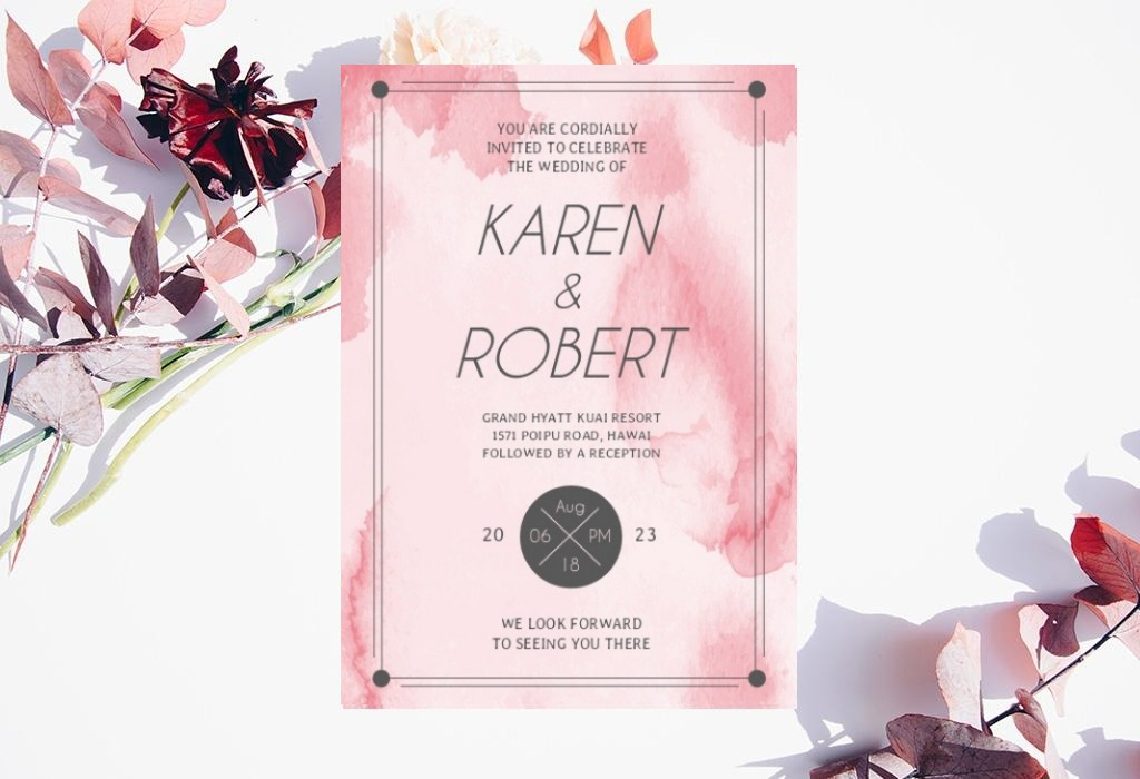 pink modern wedding invitation