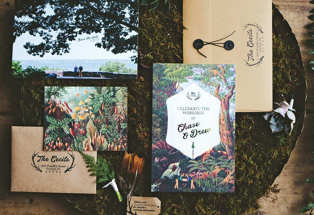 rustic botanical wedding invitation