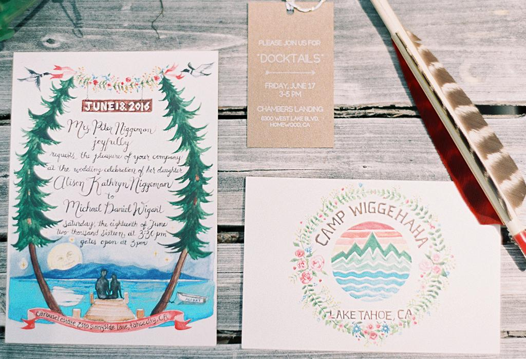 rustic hand-drawn wedding invitation