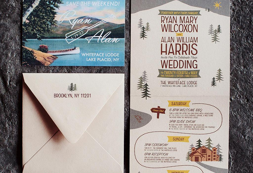 rustic summer camp wedding invitation