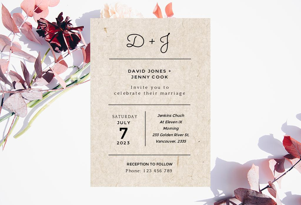 vintage monograms wedding invitation paper