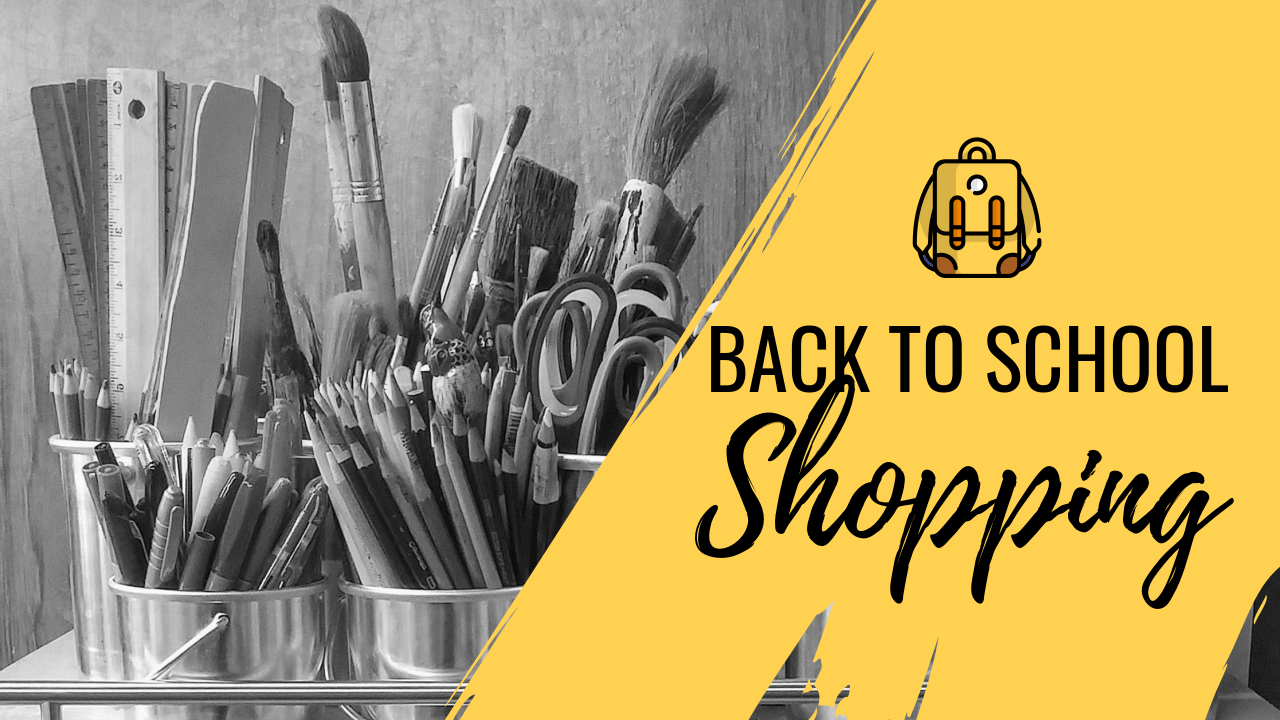 16.Back to school shopping YouTube thumbnail template