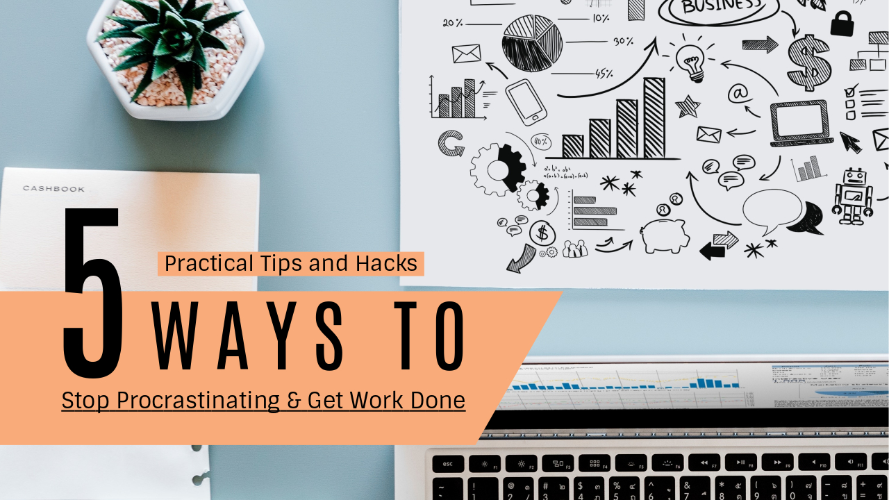 21.Practical tips and hacks 5 ways to stop procrastinating and get work done YouTube thumbnail template