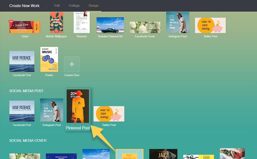 4. Choose Pinterest template