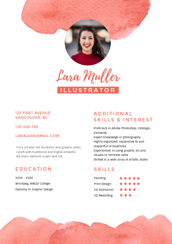 5. illustrator resume template