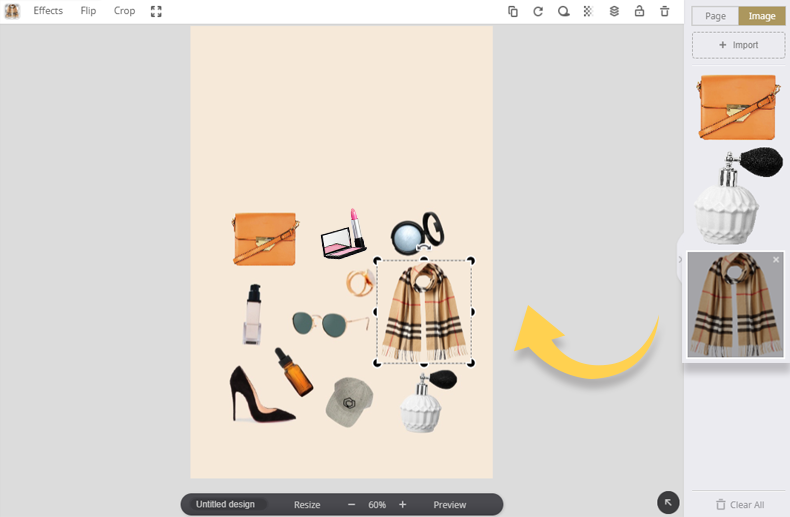 6. Drag and drop your images to the canvas