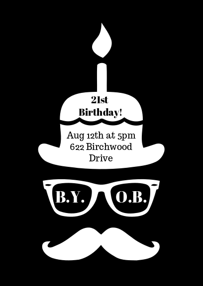 black and white birthday party invitation