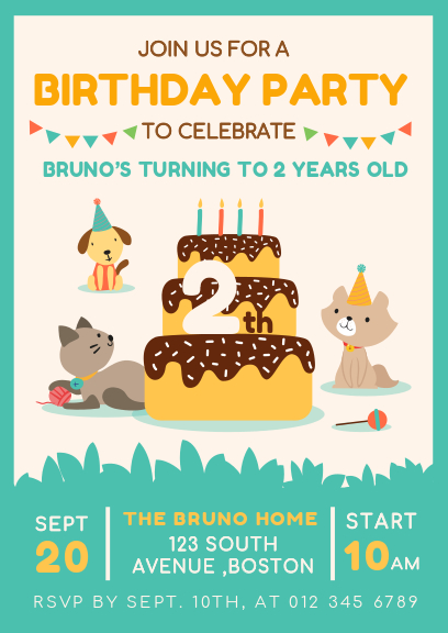 green and white cute pet birthday invitation