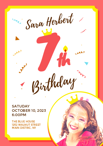 red and white kid birthday party invitation