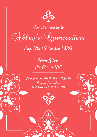red quittance party invitation