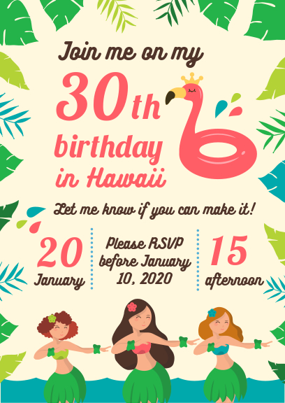 summer hawaii birthday party invitation