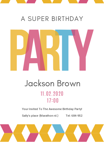 white birthday party invitation