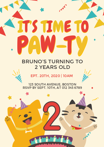 yellow cute dog birthday party invitation