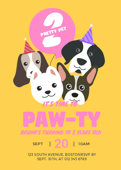 yellow dog party invitation