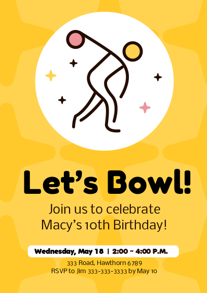 yellow go bowling celebration party invitation