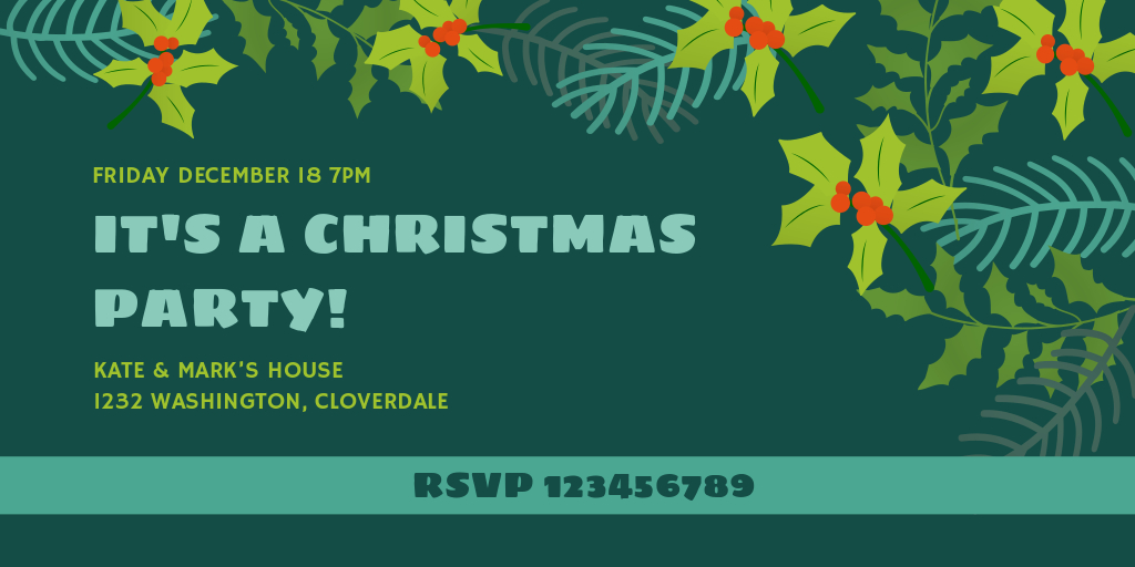 green christmas party invitation