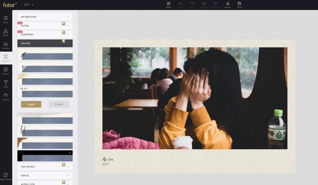 add vintage frame