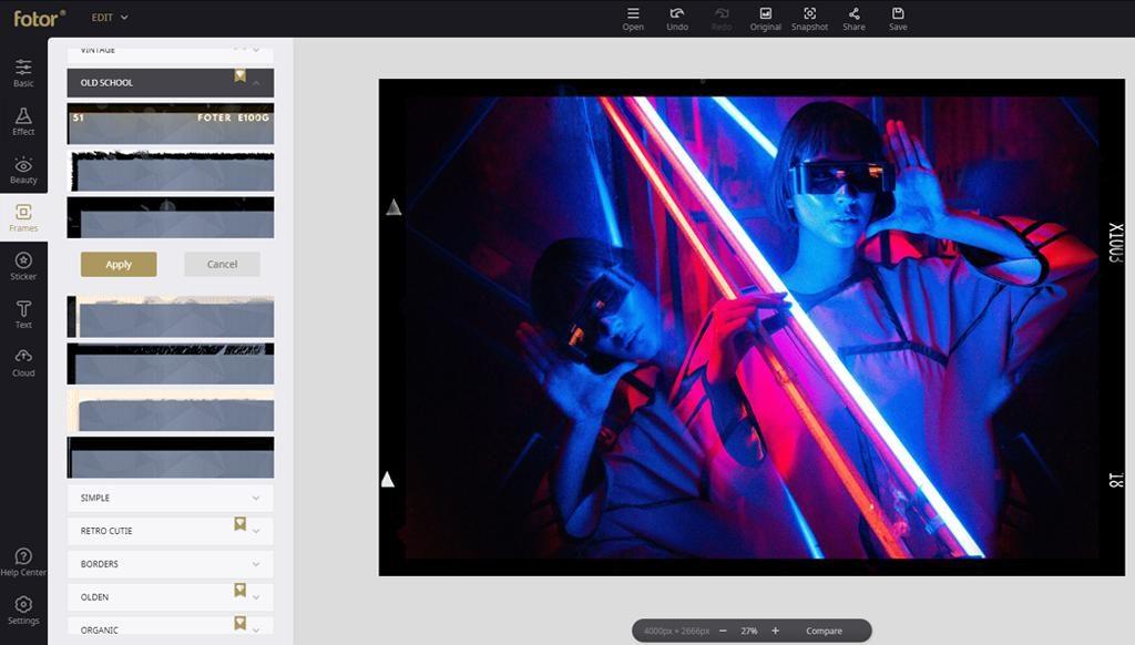Fotor無料の写真編集-フレーム追加