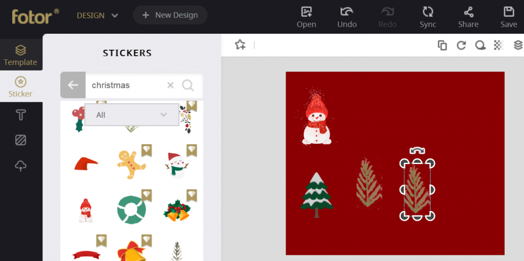 use Christmas stickers in Fotor