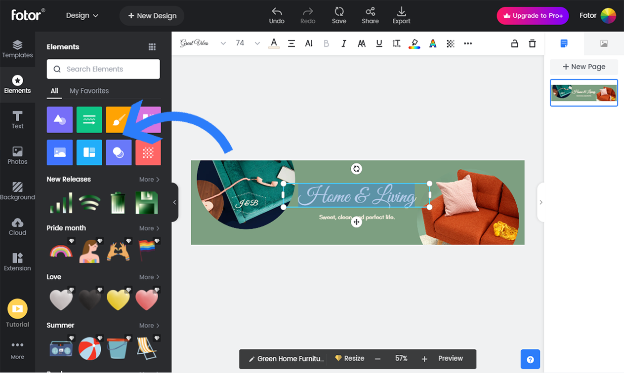 Customize Etsy cover photo with design elements