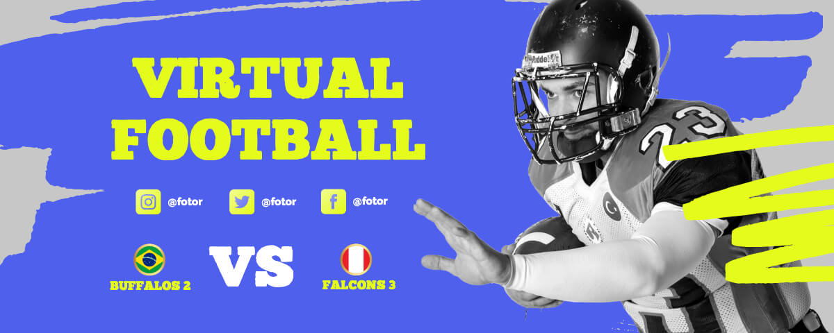 Fotor blue virtual football twitch banner template