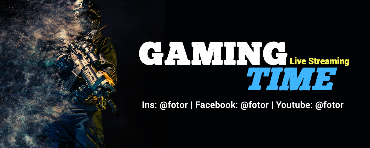 Fotor simple black athletics gaming twitch banner template