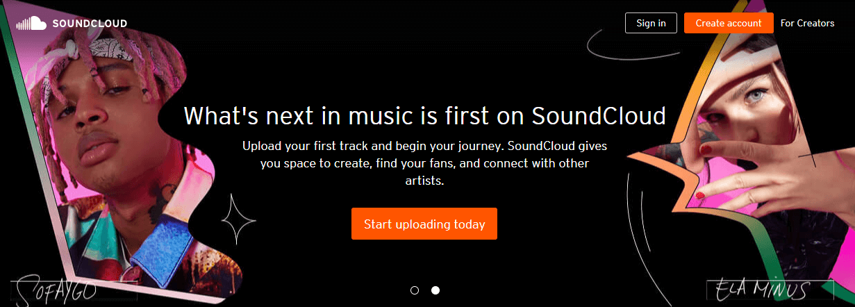 SoundCloud website screenshot