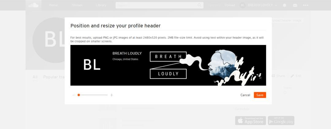 Upload and adjust your SoundCloud header image